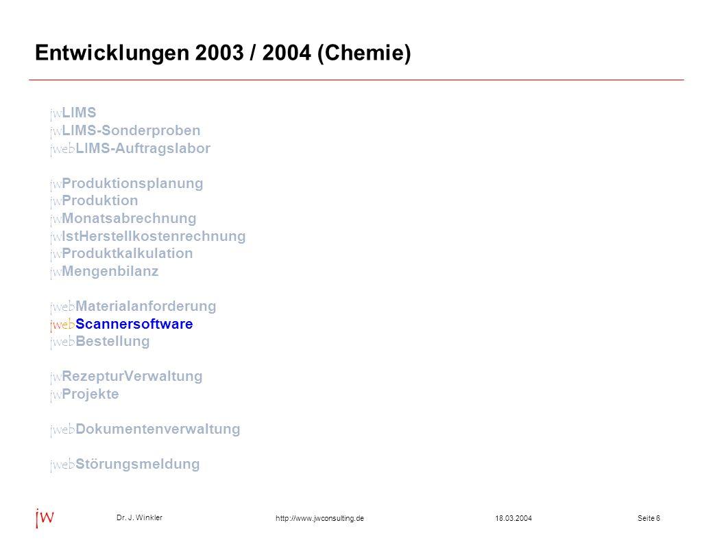 Entwicklungen 2003 / 2004 (Chemie)