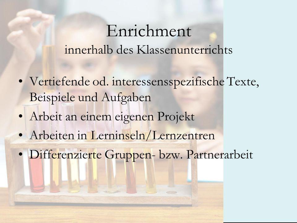 Enrichment innerhalb des Klassenunterrichts