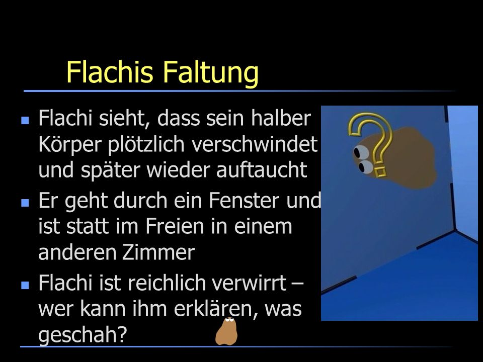 Flachis Faltung Flachi sieht, dass sein halber Körper plötzlich verschwindet und später wieder auftaucht.
