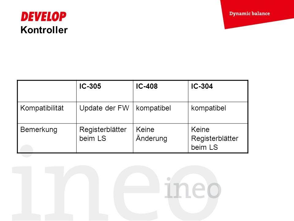 Kontroller IC-305 IC-408 IC-304 Kompatibilität Update der FW