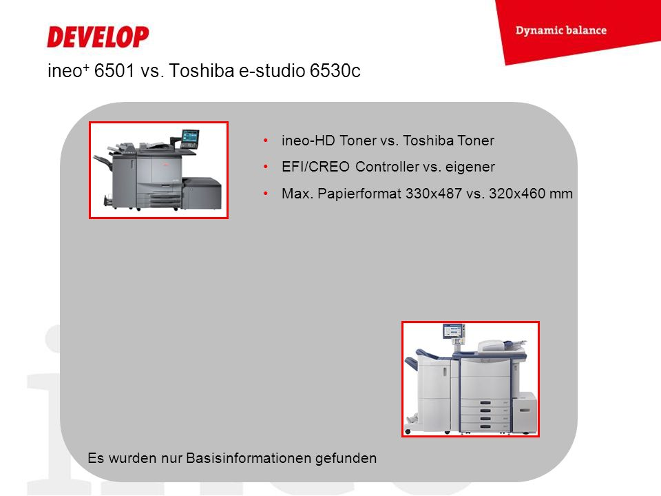 ineo+ 6501 vs. Toshiba e-studio 6530c