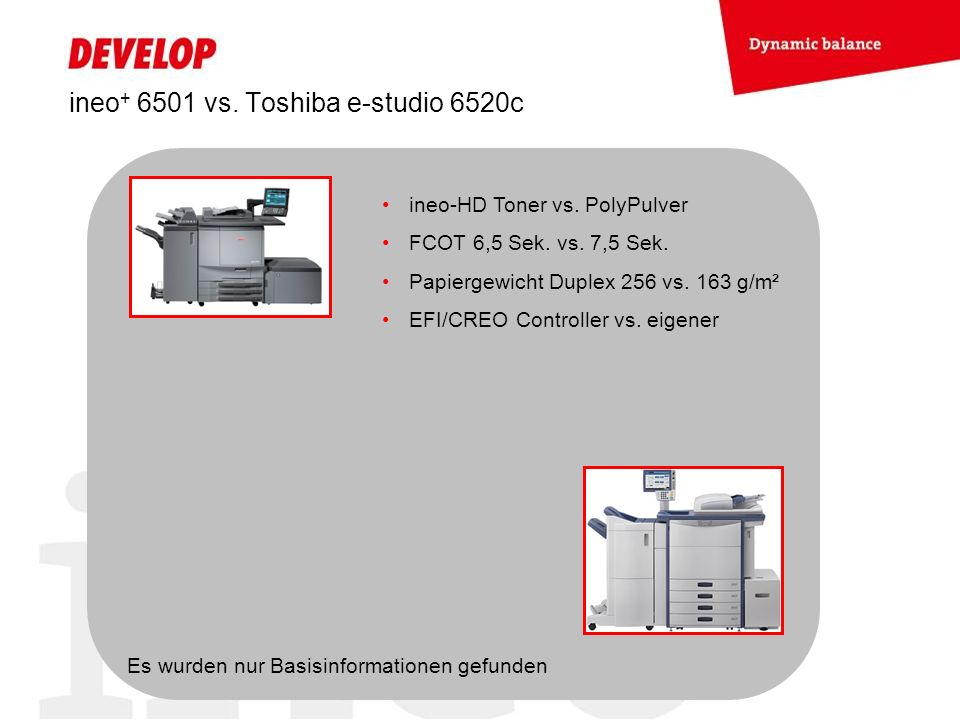 ineo+ 6501 vs. Toshiba e-studio 6520c