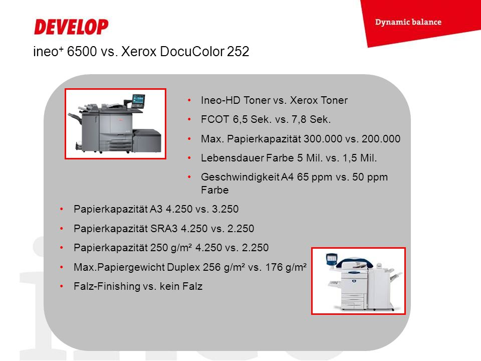 ineo+ 6500 vs. Xerox DocuColor 252