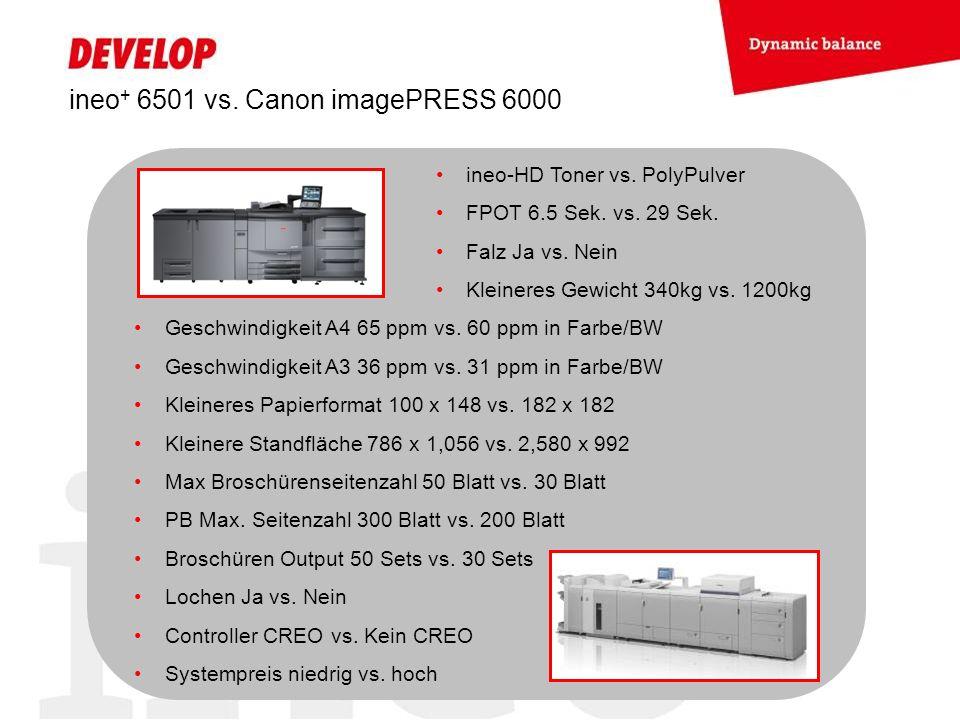 ineo+ 6501 vs. Canon imagePRESS 6000