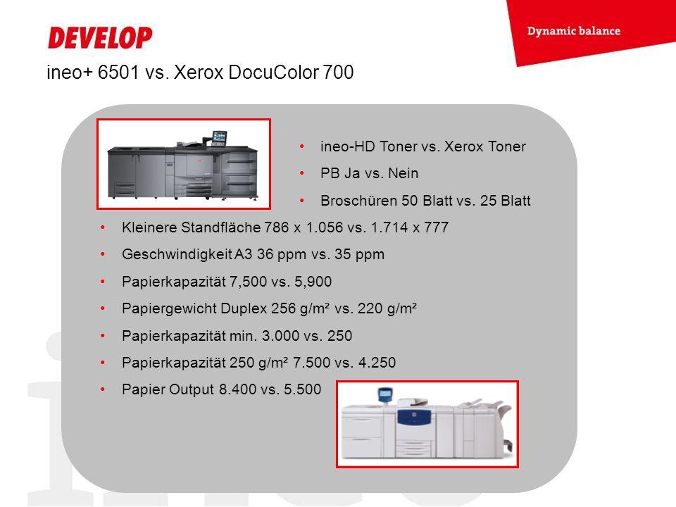 ineo+ 6501 vs. Xerox DocuColor 700