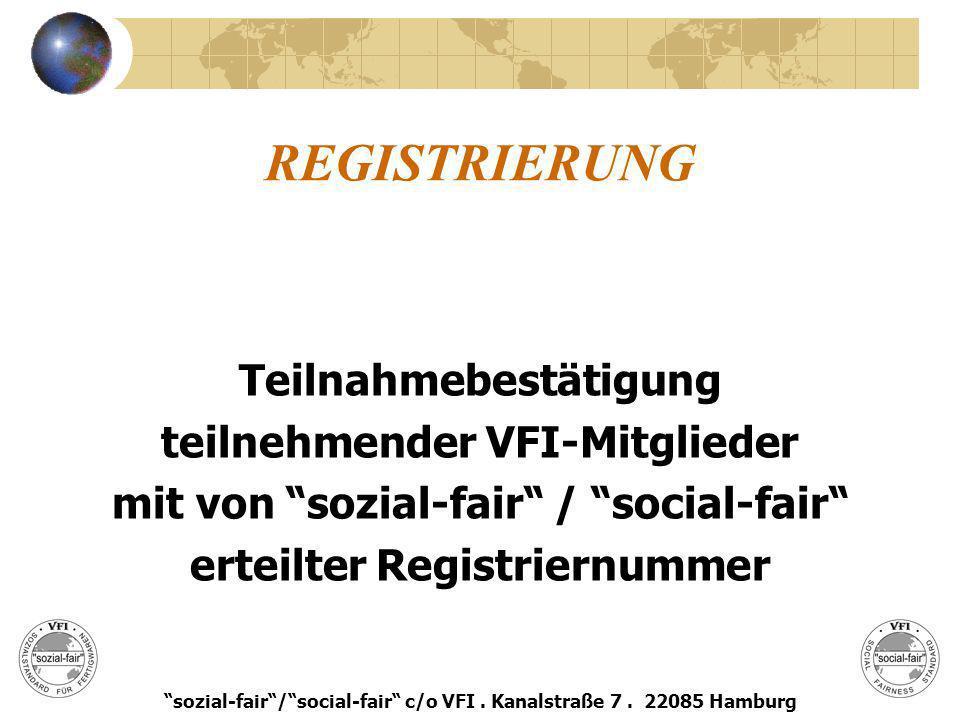 REGISTRIERUNG Teilnahmebestätigung teilnehmender VFI-Mitglieder