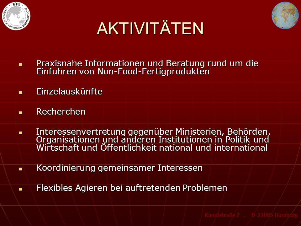 AKTIVITÄTEN Praxisnahe Informationen und Beratung rund um die Einfuhren von Non-Food-Fertigprodukten.