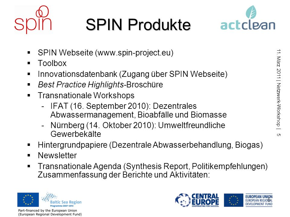 SPIN Produkte SPIN Webseite (www.spin-project.eu) Toolbox