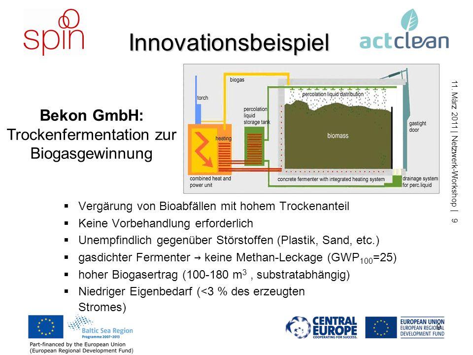 Bekon GmbH: Trockenfermentation zur Biogasgewinnung