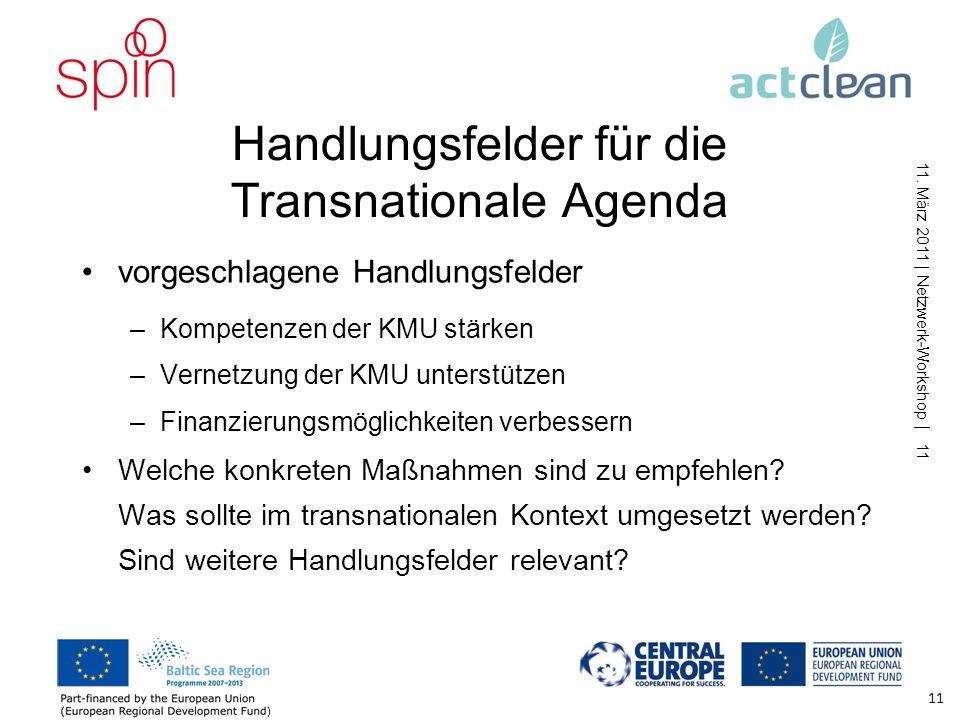 Handlungsfelder für die Transnationale Agenda