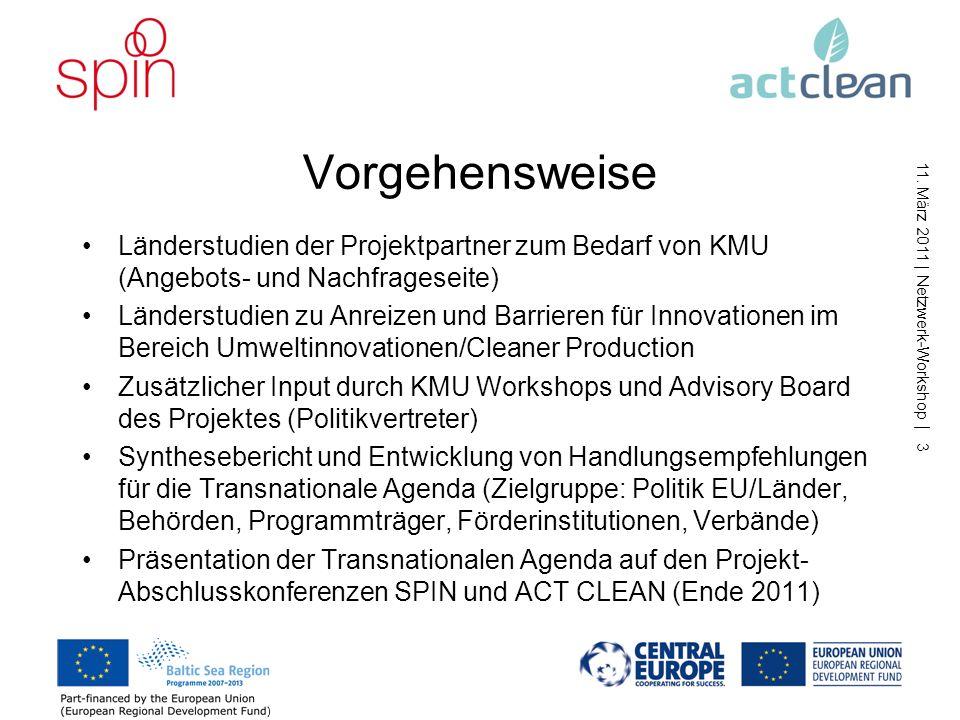 Vorgehensweise Länderstudien der Projektpartner zum Bedarf von KMU (Angebots- und Nachfrageseite)