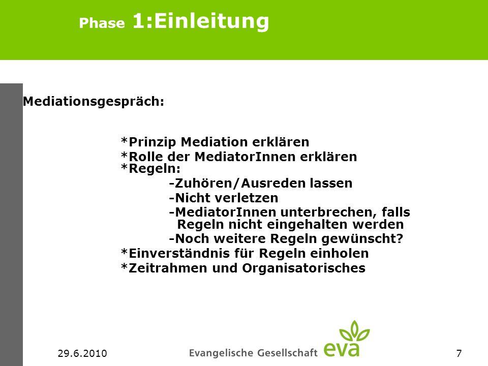 Phase 1:Einleitung Mediationsgespräch: *Prinzip Mediation erklären