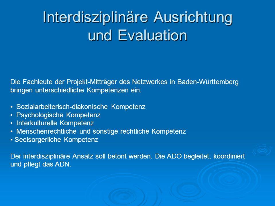 Interdisziplinäre Ausrichtung und Evaluation