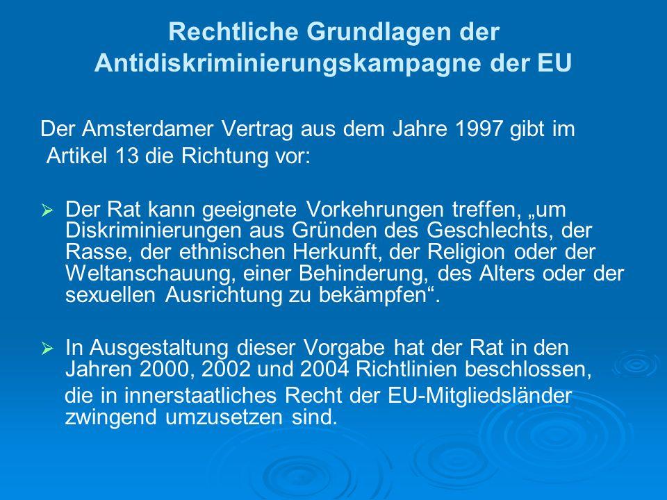 Rechtliche Grundlagen der Antidiskriminierungskampagne der EU