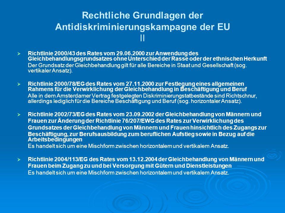 Rechtliche Grundlagen der Antidiskriminierungskampagne der EU II