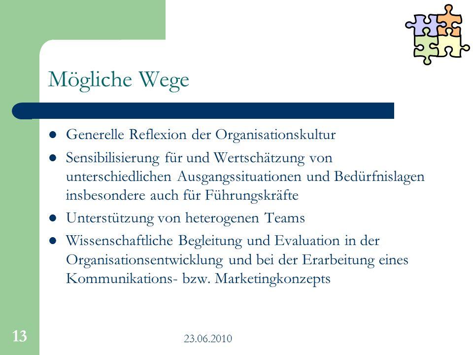Mögliche Wege Generelle Reflexion der Organisationskultur