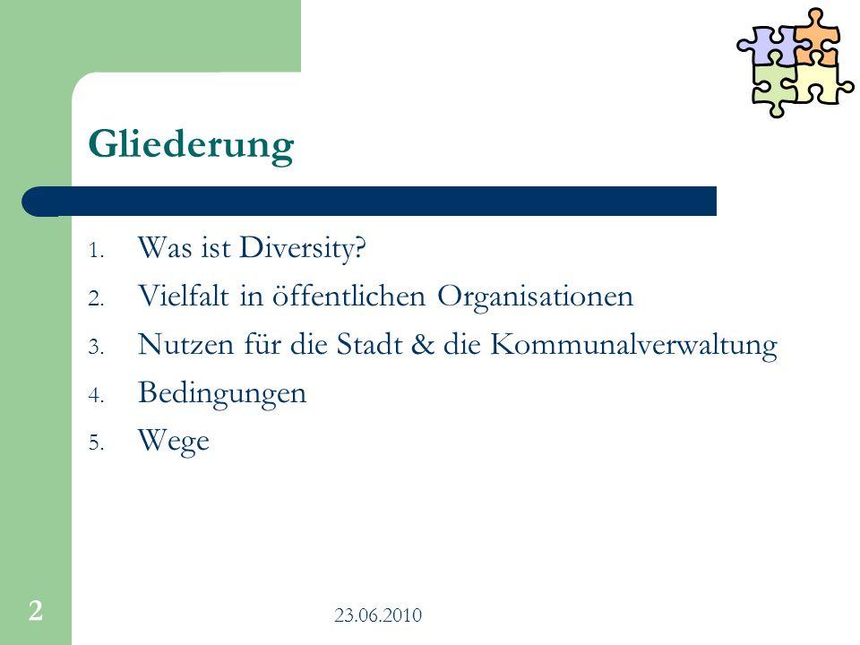 Gliederung Was ist Diversity Vielfalt in öffentlichen Organisationen