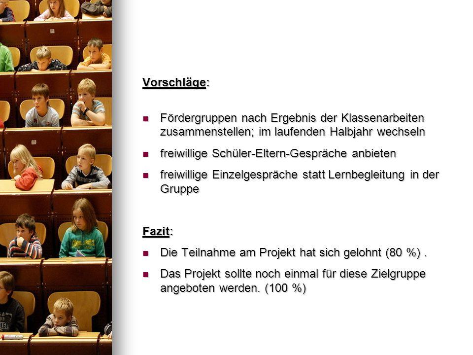 Vorschläge: Fördergruppen nach Ergebnis der Klassenarbeiten zusammenstellen; im laufenden Halbjahr wechseln.