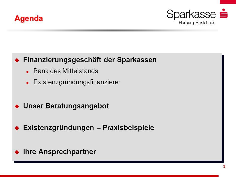 Agenda Finanzierungsgeschäft der Sparkassen Unser Beratungsangebot