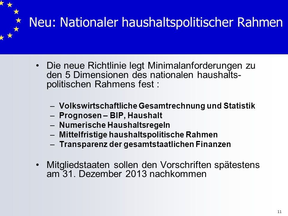 Neu: Nationaler haushaltspolitischer Rahmen