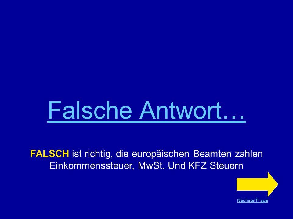 Falsche Antwort… FALSCH ist richtig, die europäischen Beamten zahlen Einkommenssteuer, MwSt. Und KFZ Steuern.