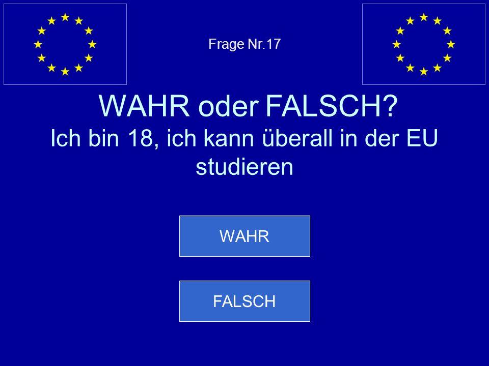 Frage Nr. 17 WAHR oder FALSCH