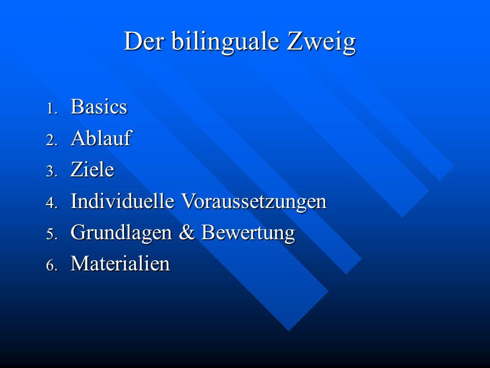 Der bilinguale Zweig Basics Ablauf Ziele Individuelle Voraussetzungen