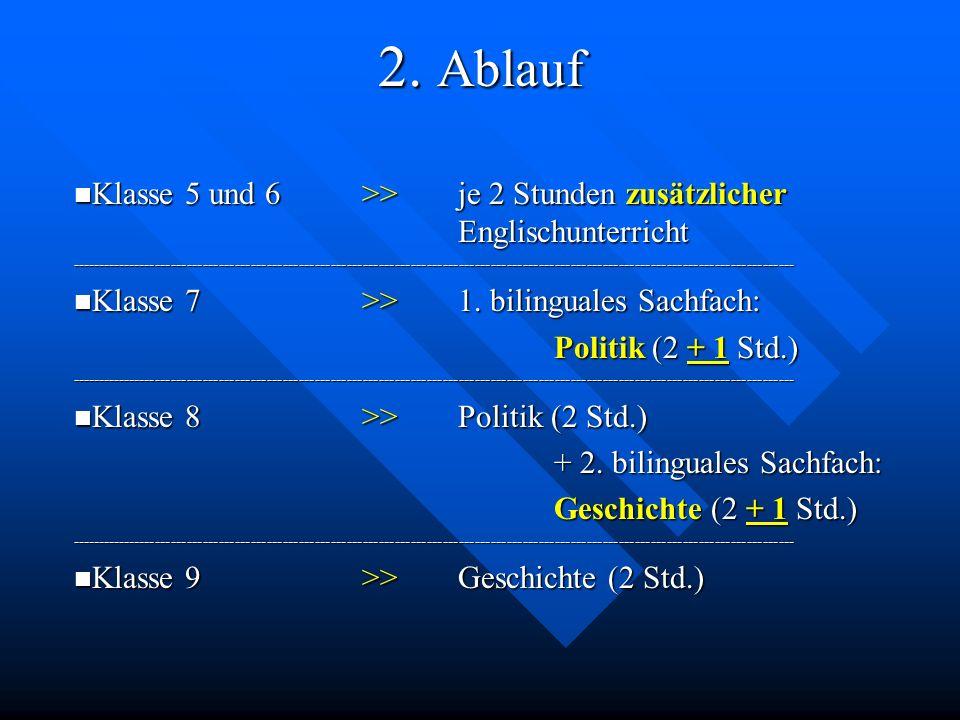 2. Ablauf Klasse 5 und 6 >> je 2 Stunden zusätzlicher Englischunterricht.