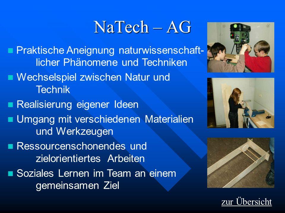 NaTech – AG Praktische Aneignung naturwissenschaft- licher Phänomene und Techniken. Wechselspiel zwischen Natur und Technik.