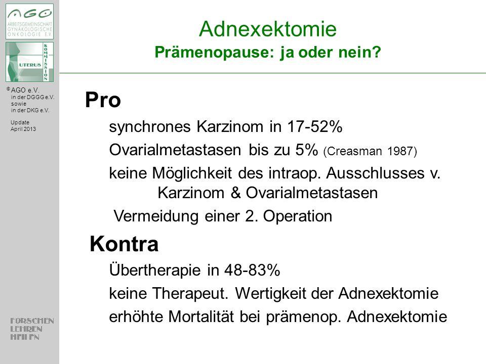Adnexektomie Prämenopause: ja oder nein