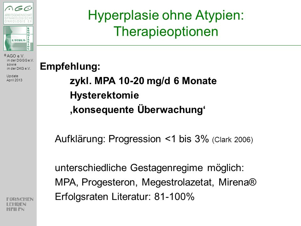 Hyperplasie ohne Atypien: Therapieoptionen