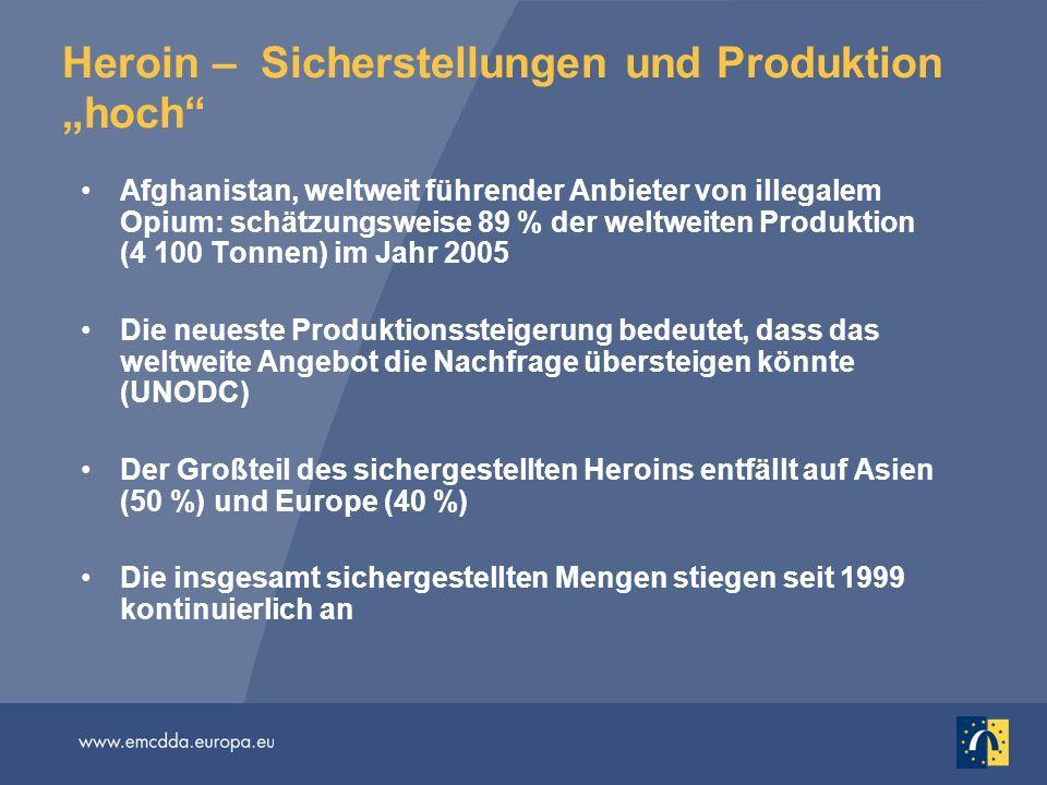 """Heroin – Sicherstellungen und Produktion """"hoch"""