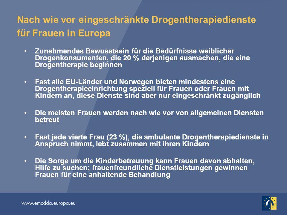 Nach wie vor eingeschränkte Drogentherapiedienste für Frauen in Europa