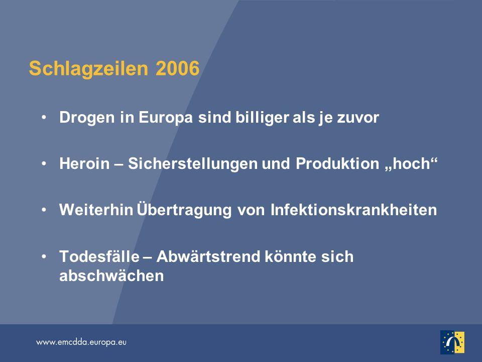 Schlagzeilen 2006 Drogen in Europa sind billiger als je zuvor