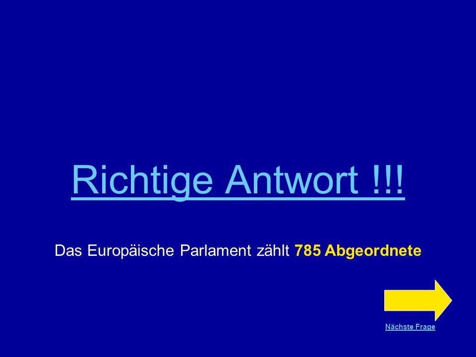 Das Europäische Parlament zählt 785 Abgeordnete