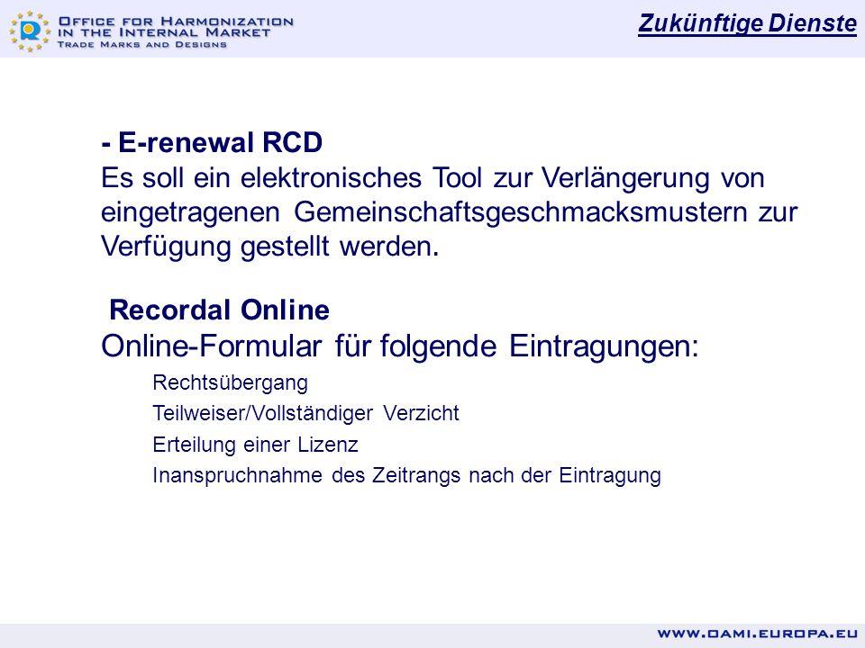 Online-Formular für folgende Eintragungen: