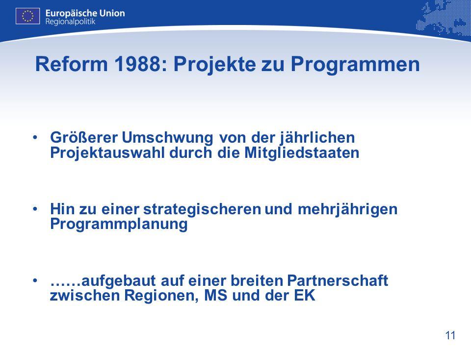 Reform 1988: Projekte zu Programmen