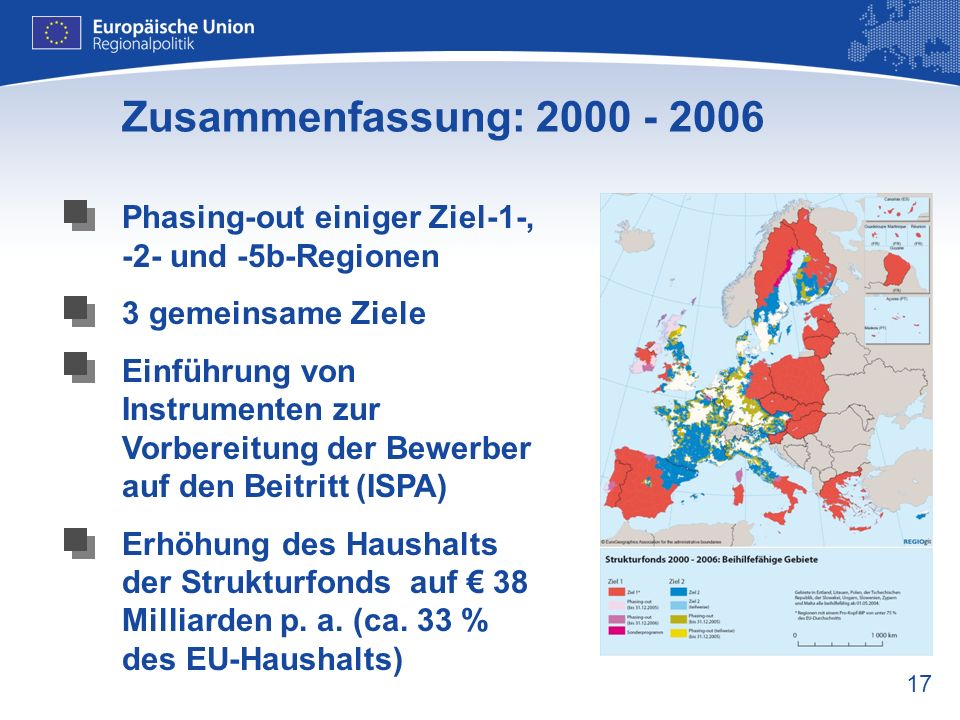Zusammenfassung: 2000 - 2006 Phasing-out einiger Ziel-1-, -2- und -5b-Regionen. 3 gemeinsame Ziele.