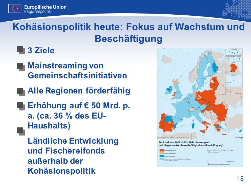 Kohäsionspolitik heute: Fokus auf Wachstum und Beschäftigung