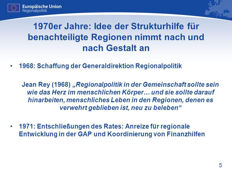1970er Jahre: Idee der Strukturhilfe für benachteiligte Regionen nimmt nach und nach Gestalt an