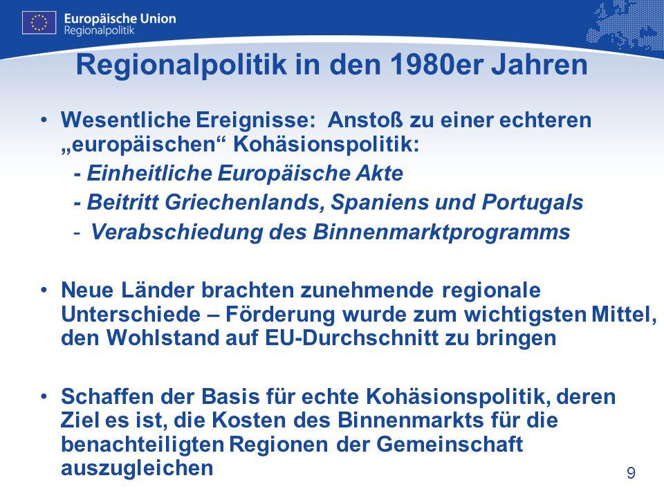 Regionalpolitik in den 1980er Jahren