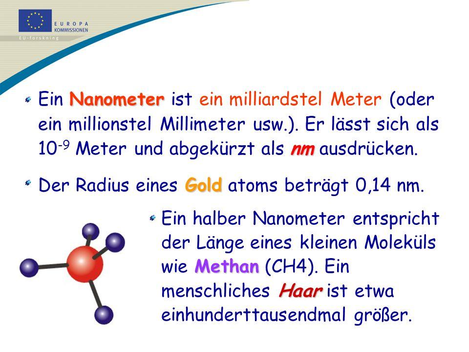 Der Radius eines Gold atoms beträgt 0,14 nm.