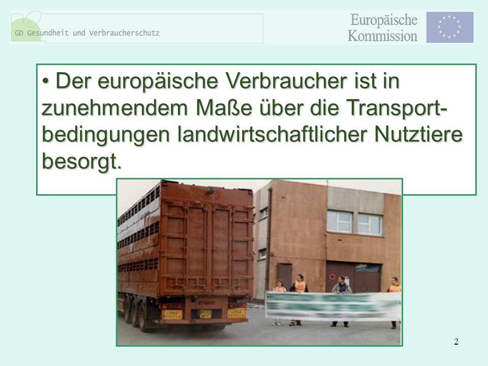 Der europäische Verbraucher ist in zunehmendem Maße über die Transport-bedingungen landwirtschaftlicher Nutztiere besorgt.