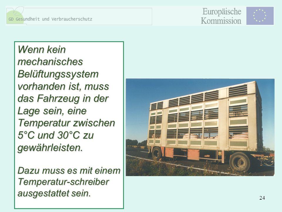 Wenn kein mechanisches Belüftungssystem vorhanden ist, muss das Fahrzeug in der Lage sein, eine Temperatur zwischen 5°C und 30°C zu gewährleisten.