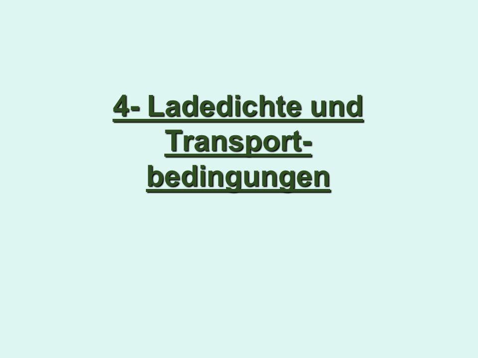 4- Ladedichte und Transport-bedingungen
