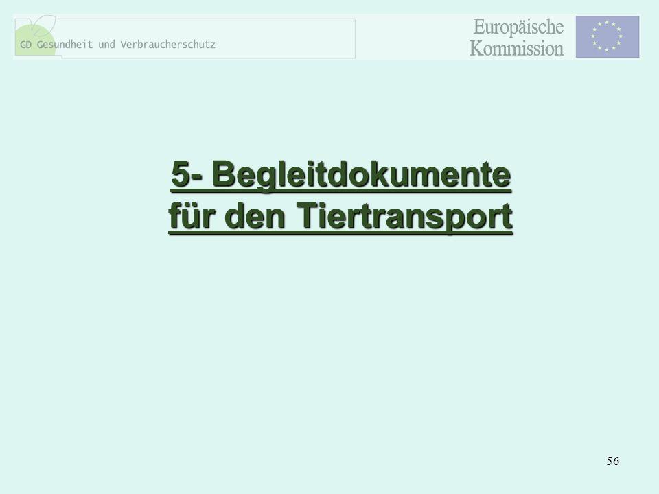 5- Begleitdokumente für den Tiertransport