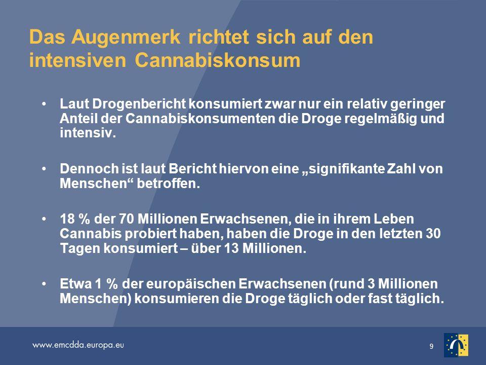 Das Augenmerk richtet sich auf den intensiven Cannabiskonsum