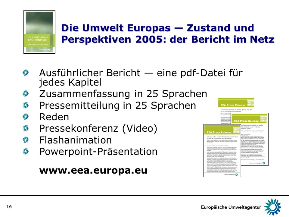 Die Umwelt Europas — Zustand und Perspektiven 2005: der Bericht im Netz