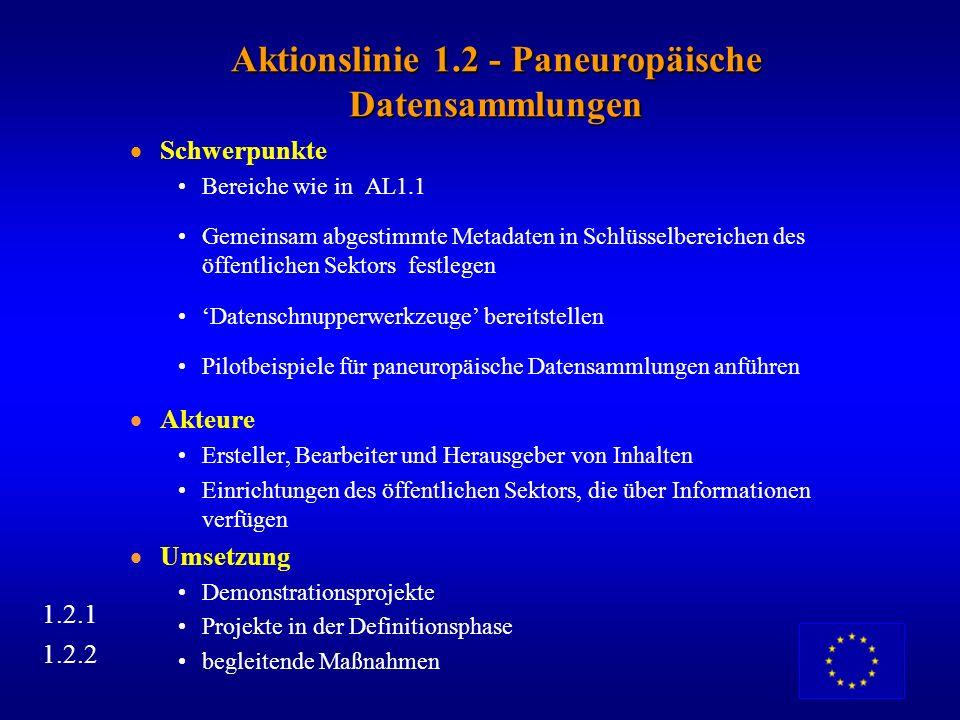 Aktionslinie 1.2 - Paneuropäische Datensammlungen