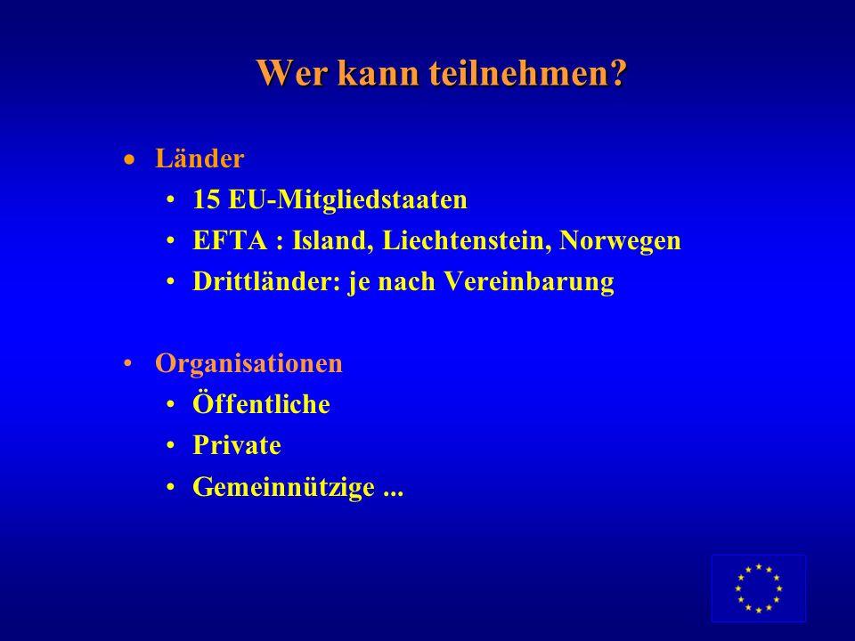 Wer kann teilnehmen Länder 15 EU-Mitgliedstaaten